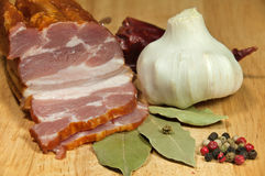 Smoked bacon royalty free stock photography