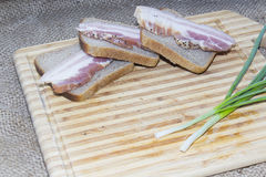 Smoked bacon, bread, green onion on a wooden cutting board Stock Photography