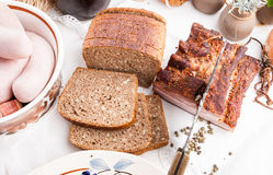 Smoked bacon with brown wholewheat sliced bread Stock Photo