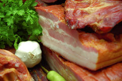 Smoked bacon composition Royalty Free Stock Photography