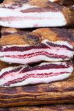 Smoked bacon flitch, country food Royalty Free Stock Photography