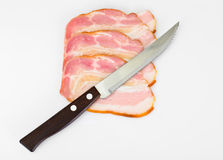 Smoked Bacon, Lard, Raw Pork with Spices Royalty Free Stock Photography