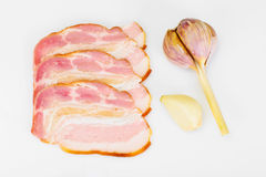Smoked Bacon, Lard, Raw Pork with Spices Stock Photo