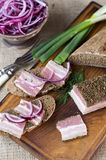 Smoked bacon with onion and rye bread Stock Image