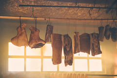 Smoked bacon and other cured pork meat Stock Photo