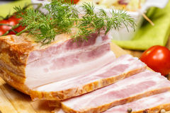 Smoked bacon with spices Stock Image