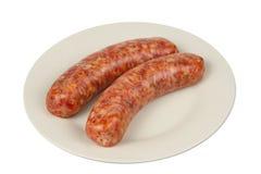 Smoked Sausage on Plate Royalty Free Stock Photos