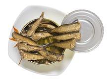 Smoked Baltic sea  golden sprats Stock Photos
