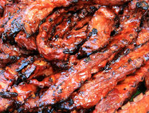 Smoked Barbecue Pork Spare Ribs Stock Images