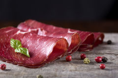 Smoked beef meat slices Royalty Free Stock Images