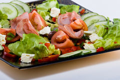 Smoked beef salad. Smoked beef, healthy fresh salad platter, food series Royalty Free Stock Photos