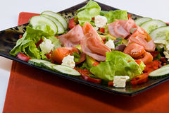 Smoked beef salad. Smoked beef, healthy fresh salad platter, food series Royalty Free Stock Photography