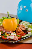 Smoked beef salad. Smoked beef, healthy fresh salad platter, food series Stock Photo