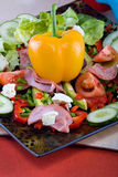 Smoked beef salad. Smoked beef, healthy fresh salad platter, food series Royalty Free Stock Images