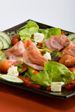 Smoked beef salad. Smoked beef,healthy fresh salad platter, food series Stock Photos