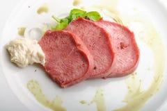Smoked Beef Tongue with horseradish Royalty Free Stock Photo