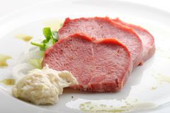 Smoked Beef Tongue with horseradish Stock Images