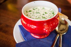 Smoked beer and garlic soup. A red bowl of smoke beer and garlic soup Royalty Free Stock Image
