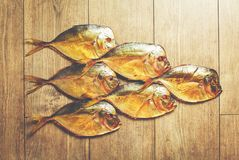Big fishes on the wood view from the top. Smoked big fish Vomero and one small fish  on wooden background Royalty Free Stock Photography