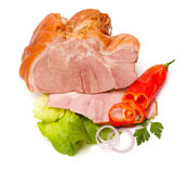 Smoked and boiled ham Stock Photo
