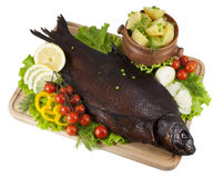 Smoked bream on a wooden board Royalty Free Stock Photography