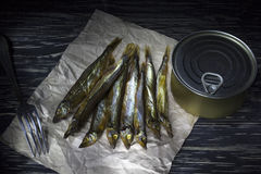 Smoked capelin and conserve tins on wooden background. Smoked capelin and conserve tins on dark wooden background Stock Images