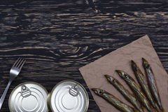 Smoked capelin and conserve tins on wooden background. Smoked capelin and conserve tins on dark wooden background Royalty Free Stock Images