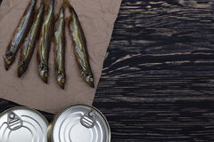 Smoked capelin and conserve tins on wooden background. Smoked capelin and conserve tins on dark wooden background Stock Photos