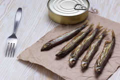 Smoked capelin and conserve tins on wooden background Royalty Free Stock Photo