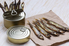 Smoked capelin and conserve tins on wooden background Stock Images