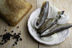 Smoked capelin on a dish royalty free stock photos