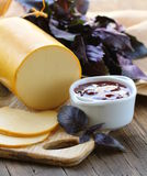 Smoked cheese with jam Stock Photos
