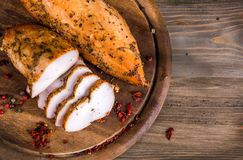 Meat delicacy. Smoked chicken fillet, meat delicacy stock photos