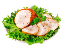 Smoked chicken roulade with salad Royalty Free Stock Photography