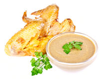 Smoked chicken wings with mustard Royalty Free Stock Image