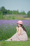 Smoked clothing flowers smiling girl Royalty Free Stock Photography