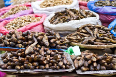 Smoked and dried fish for sale. Smoked dried fishes in street shop of Kathmandu, Nepal Stock Images