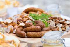 Smoked dry sausage cold cuts. Royalty Free Stock Image
