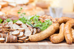 Smoked dry sausage cold cuts. Stock Photos