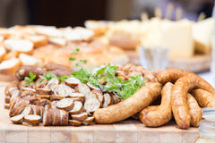 Smoked dry sausage cold cuts. Royalty Free Stock Images