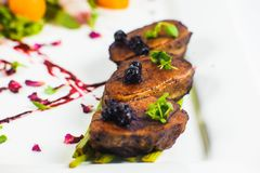 smoked duck breast fillet on white plate on the white backround. Stock Photography