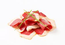Smoked duck breast slices Stock Images