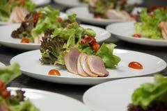 Smoked duck and fresh vegetable salad Stock Photography