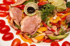 Smoked duck and fresh vegetable salad Royalty Free Stock Photo