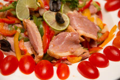 Smoked duck and fresh vegetable salad Stock Photo