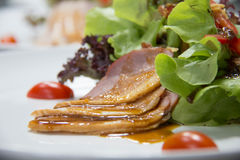 Smoked duck and fresh vegetable salad Royalty Free Stock Image