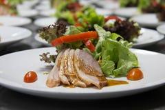 Smoked duck and fresh vegetable salad Stock Image
