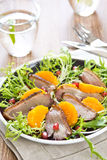 Smoked duck and orange  salad Royalty Free Stock Images