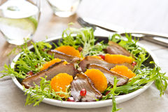 Smoked duck and orange  salad Royalty Free Stock Photos