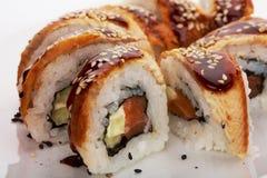 Smoked Eel Roll unagi made of Fresh Raw Salmon Stock Photo